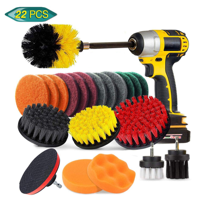 22PCs Electric Drill Brush Set  Scrub Pads & Sponge  Power Scrubber Brush Cleaning Kit with Scrub Pads & Drill bit Extender|Cleaning Brushes| |  - title=