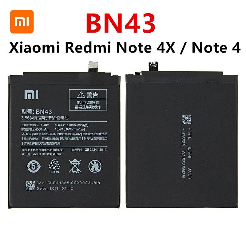 100% Orginal BN43 Battery 4000mAh For Xiaomi Redmi Note 4X / Note 4 Global Snapdragon 625 High Quality BN43 Battery