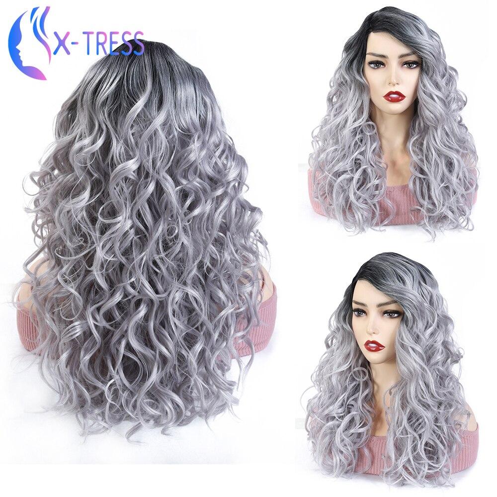 Super kręcone koronki część peruka przedziałek z boku w pełni miękkie x-tress syntetyczne włosy Ombre szary mieszane kolorowe 20 cal Glueless włosów dla kobiet