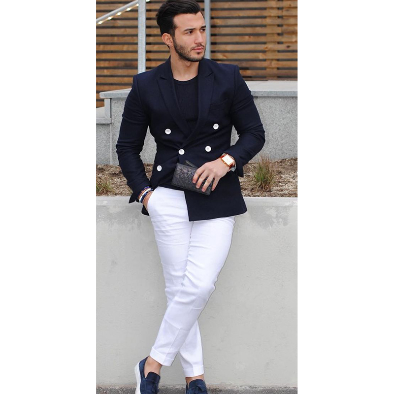 2017Navy Blue Double Breasted Dress MenCasual Blazercostume Homme TuxedoTailored Jacket Suit Men Style 2pcs (jacket +white Pants