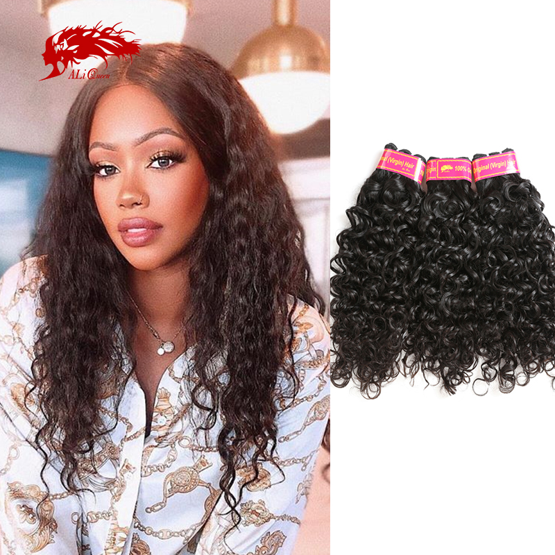 Ali Queen Water Wave One-Donor Brazilian Unprocessed Raw Virgin Hair Human Remy Hair Extension Bundle Natural Color Double Drawn