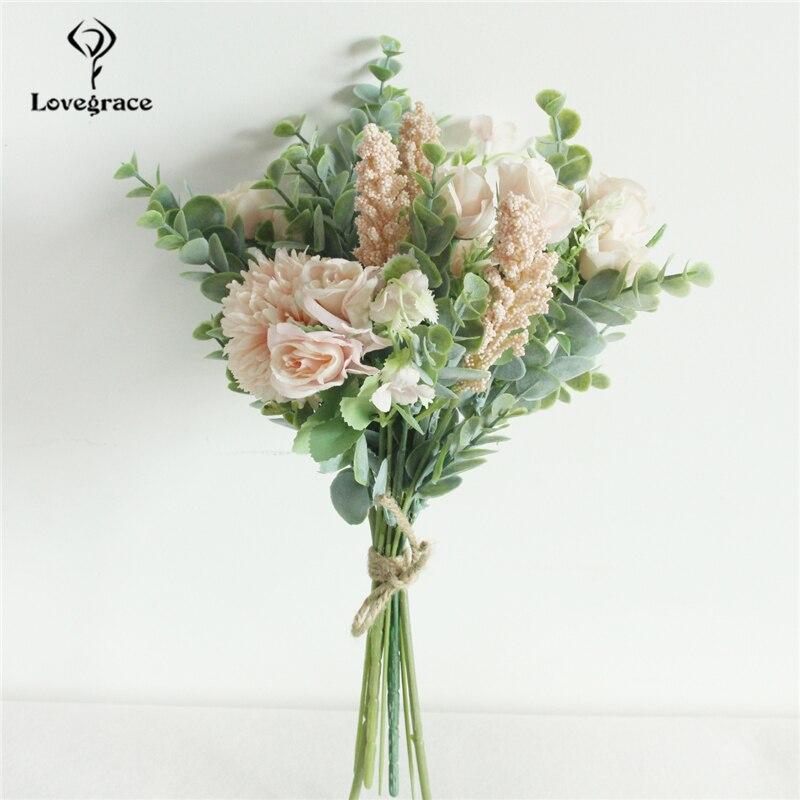 Mazzo Di Fiori Verdi.Bianco Rosa Artificiale Misto Rose Fiori Bouquet Di Fiori Di Seta
