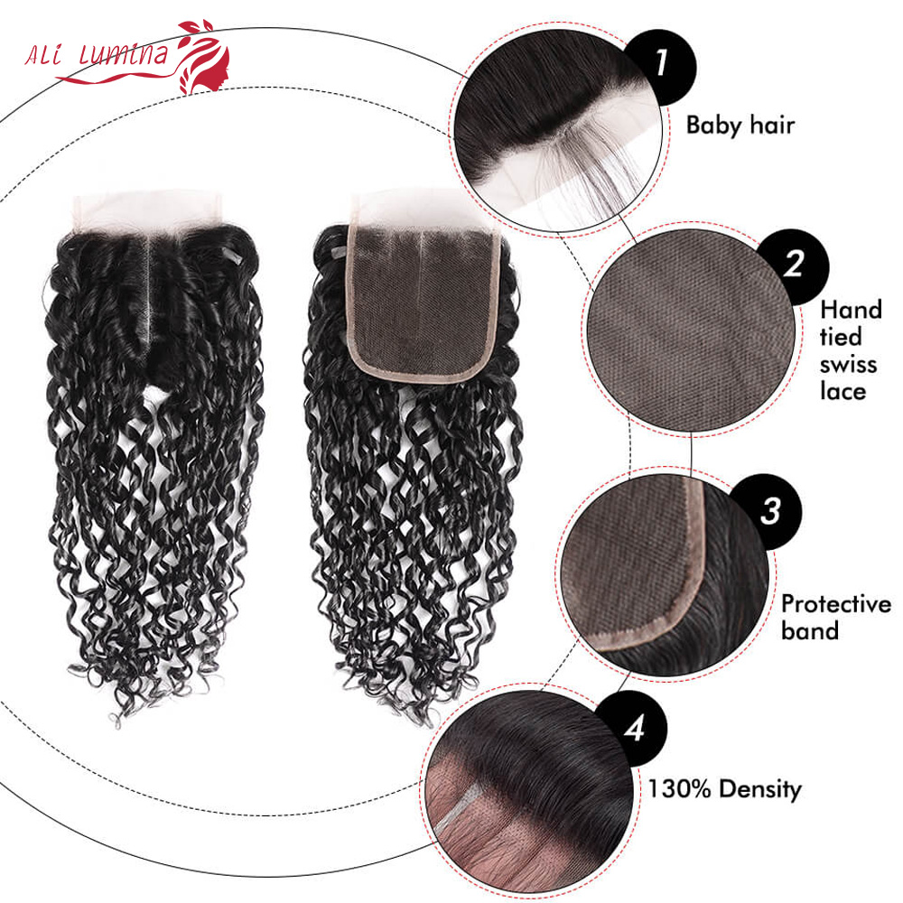 Funmi Telephone Curl 3 Bundles with 4*4 Lace Closure  Human  Hair s 3 Bundle with Closure 5