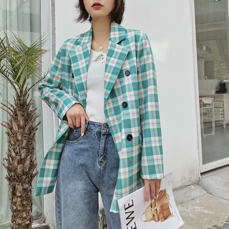 2020 Spring Autumn Vintage Green Plaid Blazers  Jackets Women Chic Pockets Suit Coat Female Outwear Tops Office Blazer Feminino