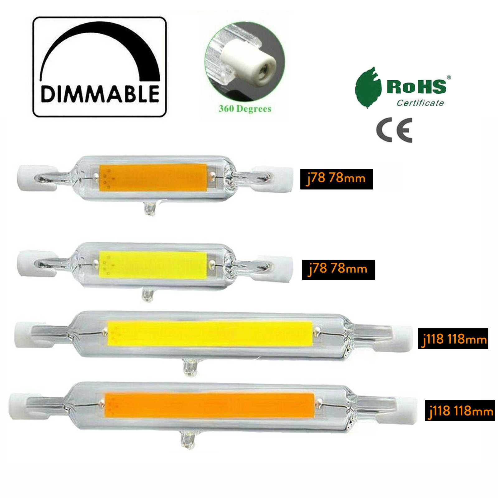 R7s LED 78mm 118mm 7W 12W 15W 25W Dimmable COB Bulbs Ceramic Glass Tube Light Ampoule Replacement Halogen Bombillas Spotlight