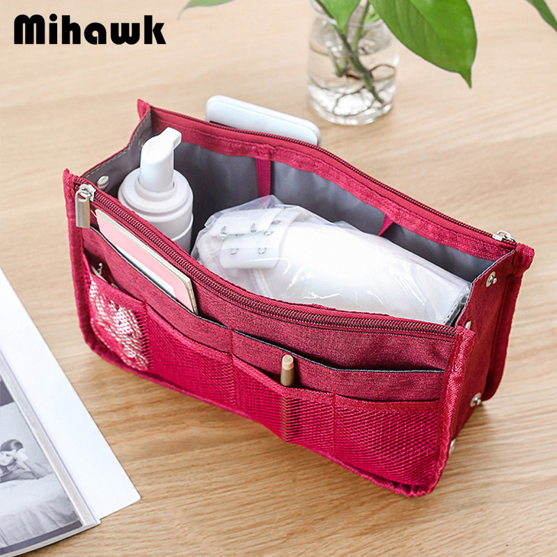 Mihawk Document Organizer Insert Handbag Waterproof Storage Bag Foldable Zip Purse Passport Cover Cosmetics Suitcase Pouch Stuff