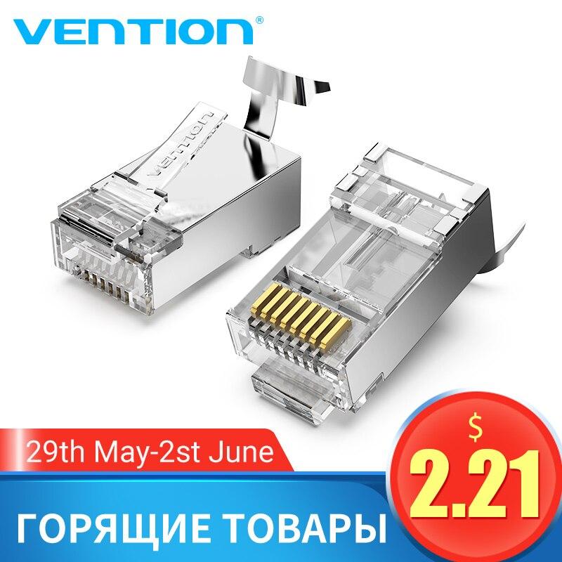 Vention Cat7 RJ45 Connector Cat7/6/5e STP 8P8C Modular Ethernet Cable Head Plug Gold-plated For Network RJ 45 Crimper Connectors