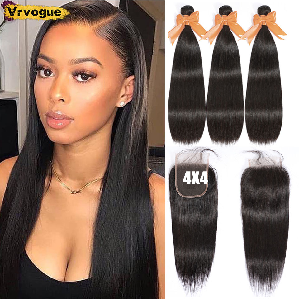 Straight Human Hair Bundles With Closure  8-30 Inch Brazilian 3 Bundles With 4x4 Lace Closure Free Part Vrvogue Hair 4 Pcs