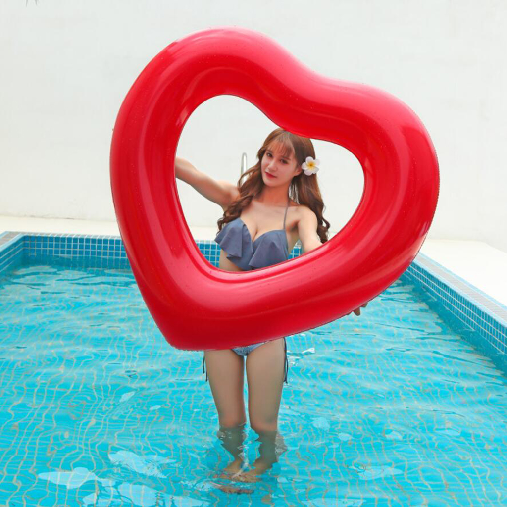 Inflatable Red Heart Summer Beach Lounger Float Swim Pool Air Tubes Water Toy Swimming Diving