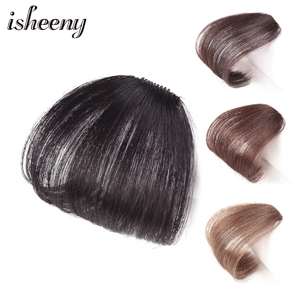 Isheeny Real Human Hair Blunt Bangs 10g Thin Black Brown Clip In Hairpiece For Women Haistyle