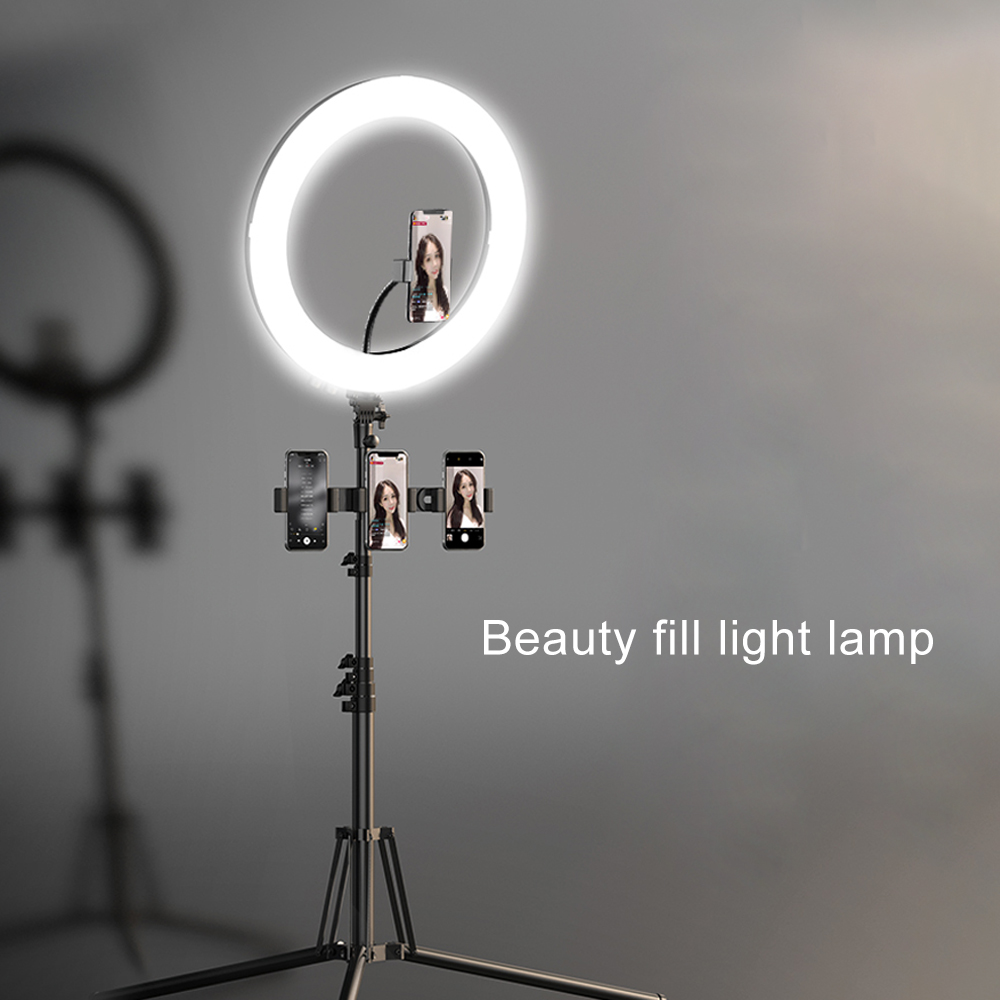 Make Up Bulb Long Arms USB LED Beauty Self-Timer Live Stand Ring Light Kit Mobile Dimmable Photo Video Lighting Ring Light Beauty Live Streaming Selfie,B