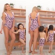 Летний Семейный комплект одежды леопардовой расцветки для мамы