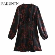 Fakuntn в винтажном стиле; Платье с принтом 2021 Осень сексуальный