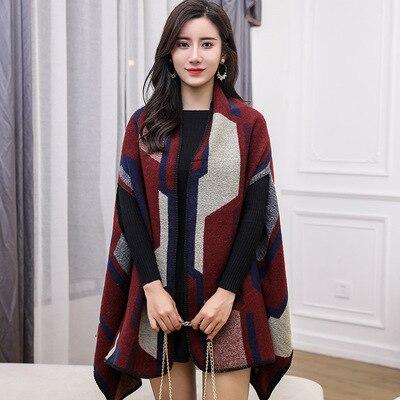 Новинка, роскошный брендовый женский зимний шарф, теплая шаль, женское Клетчатое одеяло, вязанное кашемировое пончо, накидки для женщин, echarpe - Цвет: style 12