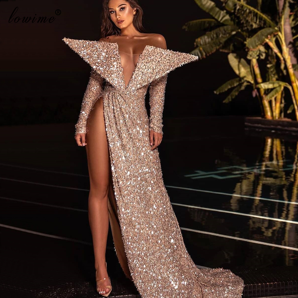 Arabic Sparkly Prom Dress Mermaid Special Design Dresses Woman Party Night Vestidos De Fiesta De Noche Long Photography Couture