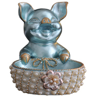 Creative Lucky Pig Piggy Bank Storage Box Statues Animal Figurine Resin Art Living Room Coffee Table Decoration Gift R2588