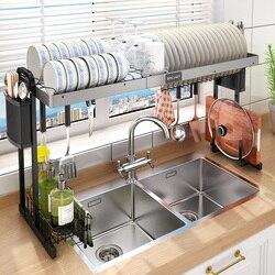 Küche Teller Trocknen Rack Über Waschbecken Erweiterbar Küche Lagerung Abtropffläche Platte Rack Utensil Halter & Racks Küche Veranstalter Rack