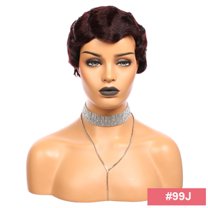 Image 5 - Pixie Cut Wig Brazilian Remy Human Hair Wigs Finger Wave Ali FumiQueen Hair #1B /#30 /#27 /#99J /#2 Machine Made Short Wig
