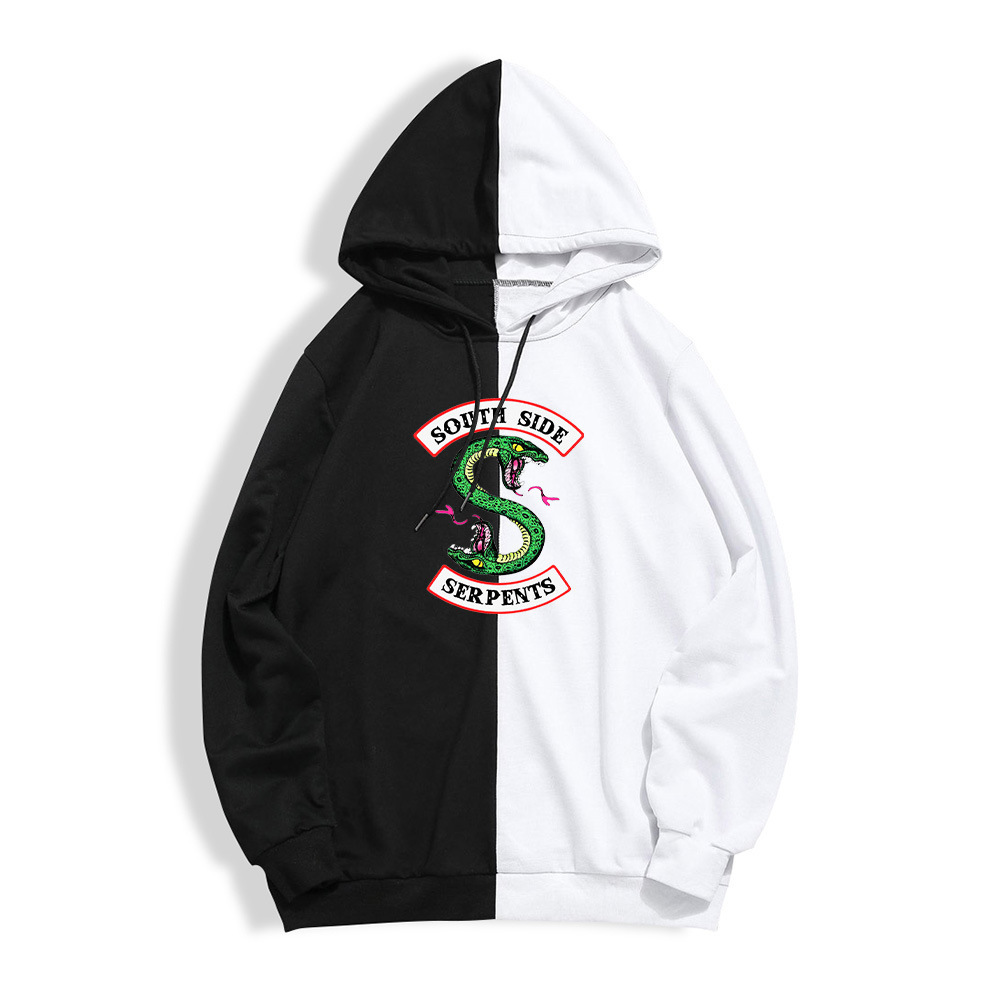 Riverdale Jacket Hoodie South Side Serpents Sweatshirts Black White Mix Design Fashion Hoodies Men Boy Autumn Winter Clothes