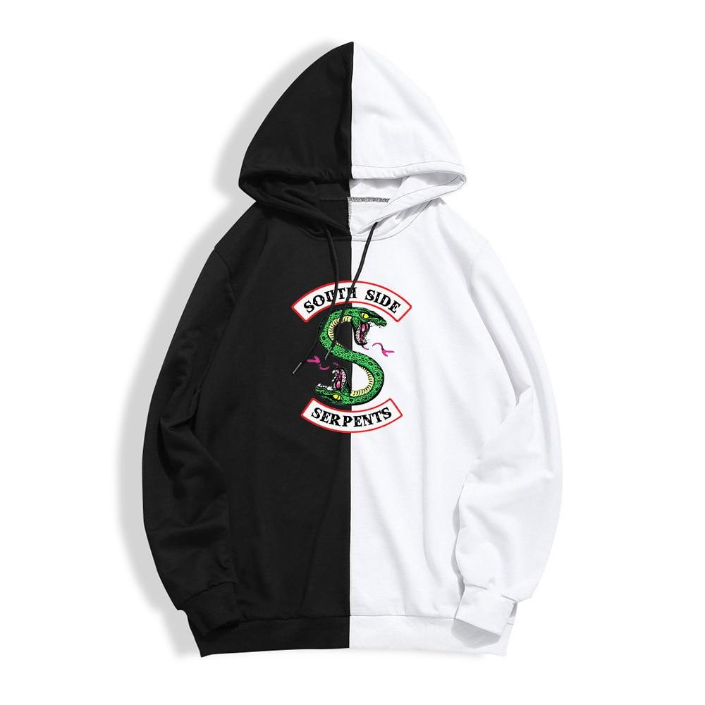 Riverdale Jacket Hoodie South Side Serpents Sweatshirts Black White Mix Design Fashion Hoodies Men Boy Autumn Winter Clothes