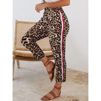 Sale Elastic waist Leopard joggers Women Side Stripe Pants Long Trousers Side Stripe Pants Loose Patchwork Pencil Trousers D30 цена 2017