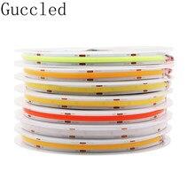 Dc12 24v alta densidade cob/fob led luz de tira flexível 384/582leds/m ,10/14w ra80 branco/natureza branco/branco morno/vermelho/azul/verde
