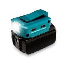 Portable Battery Converter Spotlight for Makita 14.4V /18V Li ion Battery 200LM LED Light Dual USB Port Charge For Phones Tablet