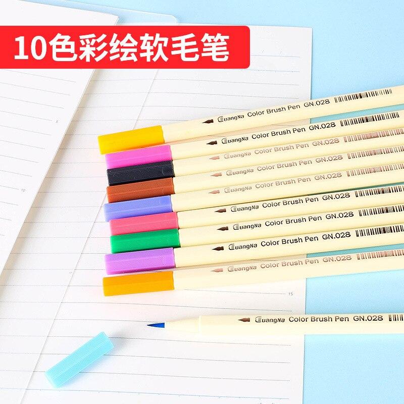 Guangna Painted Soft Brush 10 Color Marker GN028 Soft Head Pen Water-based Erasable Graffiti Pen DIY Black Card Pen
