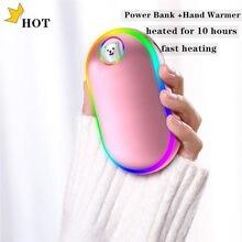 10000mah mão mais quente luz colorida display digital controle de temperatura dupla face aquecedor usb mão mais quente carregamento usb