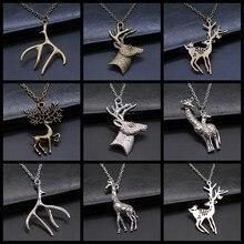 Presente de jóias de natal simples veado chifres girafa pingente colar para crianças corrente de metal estilo vintage presente de jóias de natal