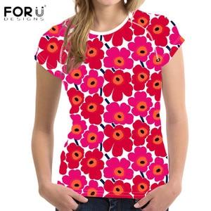 FORUDESIGNS/женские футболки, популярные Стильные короткие топы с 3D-принтом в виде цветов, с круглым вырезом, летняя одежда, Camiseta Mujer
