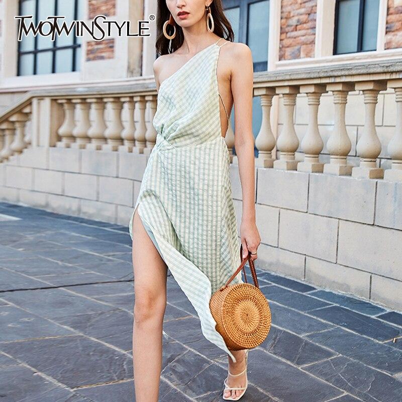TWOTWINSTYLE Casual Asymmteircal Dresses Female Skew Neck Sleeveless Backless High Waist Lace Up Irregular Hem Plaid Dress Women