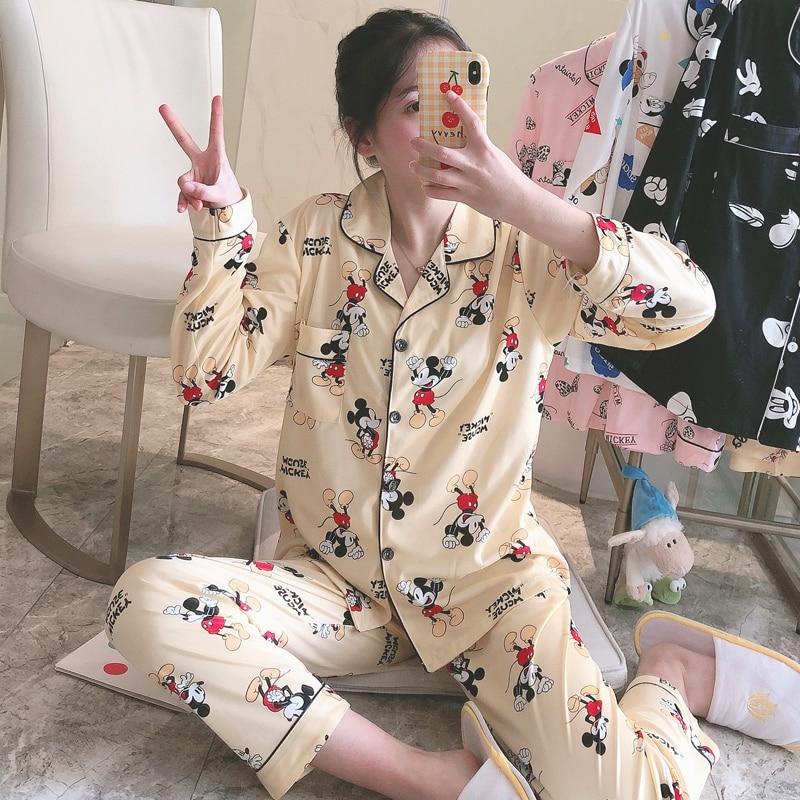 Women's Pajamas Long Sleeve 2 Pcs Spring Summer Female Pyjamas Casual Comfortable Night Sleepwear For Girls Cotton Pajamas