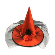 new beautiful  Women Halloween Cosplay Party Prop Mesh Witch Hat with Artificial Rose Flower Funny Mats Design