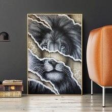 Черного и золотого цвета с изображением головы льва холст настенные