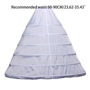 Image 5 - Womens Full Length White Crinoline Petticoat A Line 6 Hoops Skirt Slips Long Underskirt for Wedding Bridal Dress Ball Gown