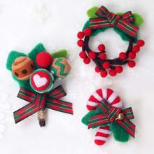 Christmas  DIY Wool Ornament Felting Decoration Wreath Handmade Felt Materials Package Brooch Gift Home