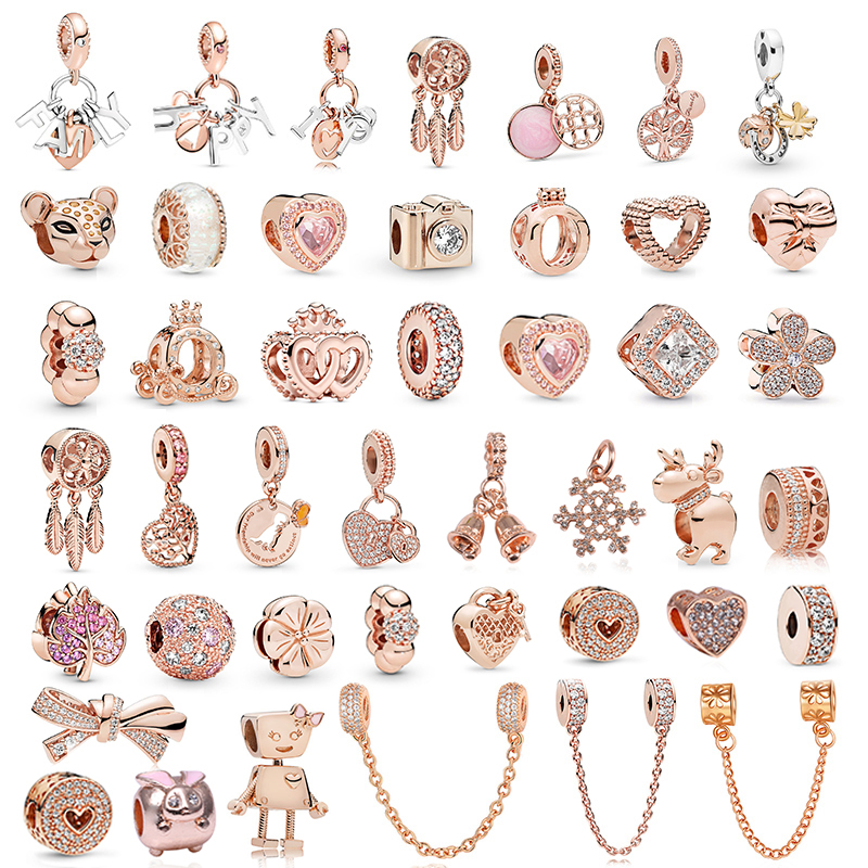 2Pcs/Lot Romantic Crystal FAMILY Love Pendant Charm Beads fit Original Pandora Bracelets for Women DIY Jewelry Making Rose Gold(China)