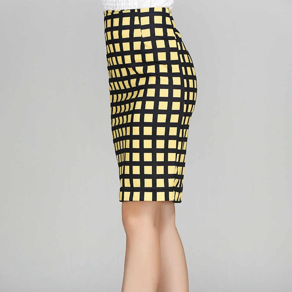 Wysokiej talii spódnica ołówkowa Plus rozmiar moda damska Midi kratę spódnica Stretch wysokiej spódniczka z wysokim stanem