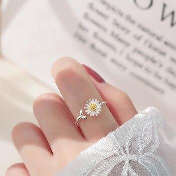 Silver Daisy Flower Ring Jewelry 925 Silver Jewelry