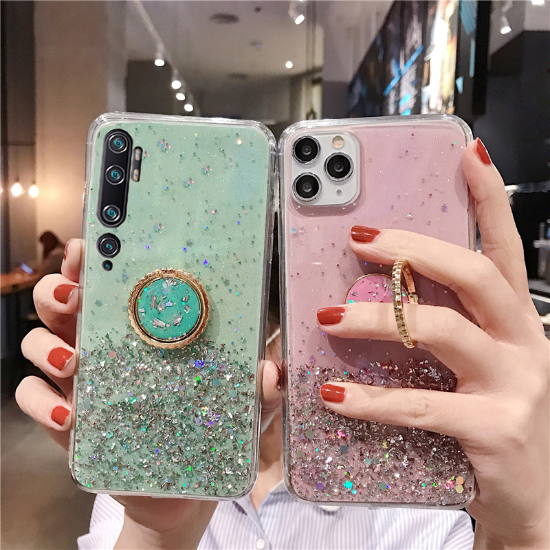 Clear Cover For Xiomi Redmi Note 5 6 Pro 8A 7A 6A 5A 4X Shiny Starry Sky Ring Bracket Case For Xiaomi Redmi Note 7 8 Pro K20 K30
