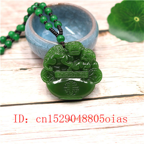 Natural Green Chinese Jade Tiger Pendant Beads Necklace Fashion Charm Jadeite Jewelry Carved Amulet Gifts For Women Men