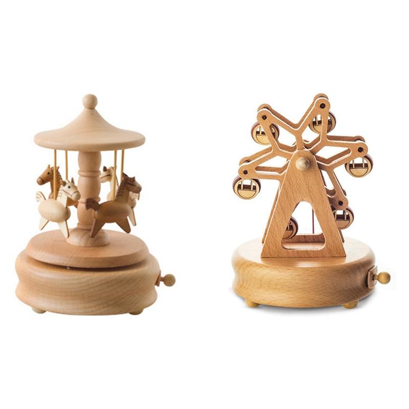2PCS Wood Music Box Musical Wooden Boxes Girls Clockwork Craft Birthday Gift Home Decoration, Carousel & Ferris Wheel