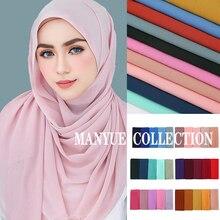 High Quality Women Plain Bubble Chiffon Scarf Hijab Long Georgette Scarf Shawls Muslim Hijabs Islamic Headwear Wraps Scarves