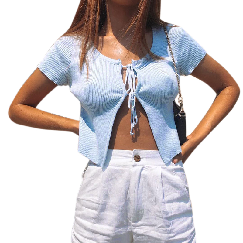 Vicabo Women Cardigan White Crop Top Open Stitch Bandage Sexy Casual Blue Cardigans Ladies Casual Tops