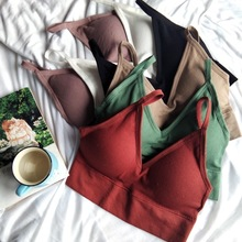 Wireless Bra Padded Crop-Top Sport Women Fitness One-Piece for Intimates Tee Elastic