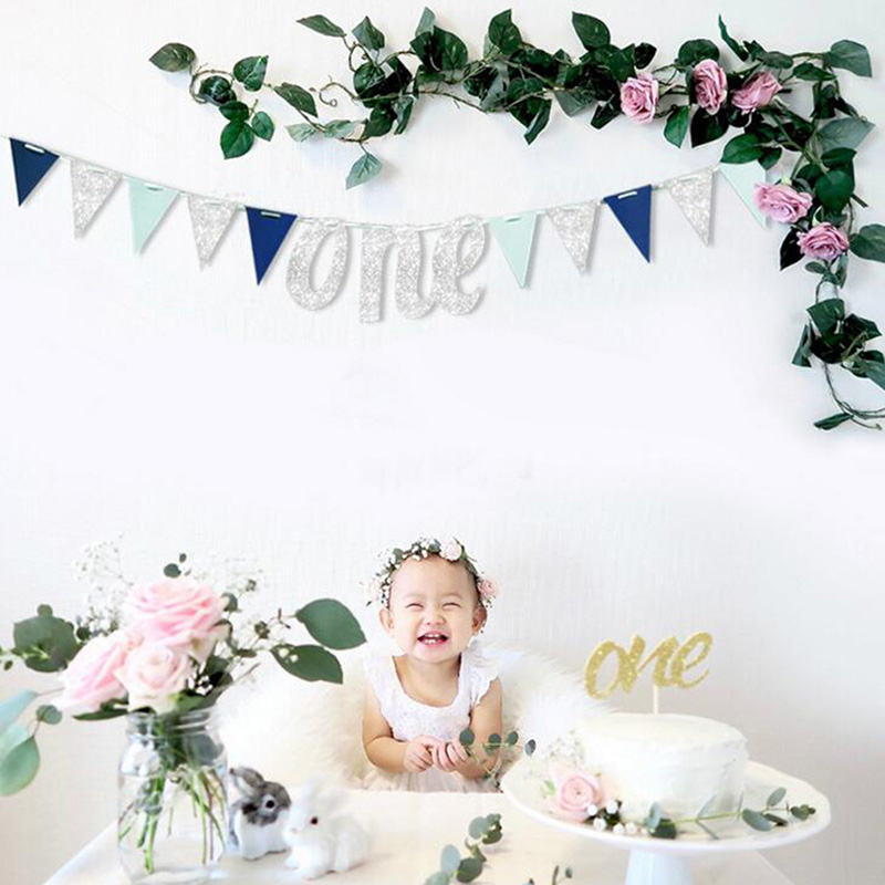 Cartel de feliz cumpleaños para Globo de oro rosa, decoración para fiesta de primer 1 año, guirnalda para niños y niñas, suministros azules
