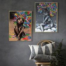 GOODECOR Modern Street Art on Canvas Abstract Girl Graffiti Pop Wall Print Poster Fashion Painting for Living Room Decor
