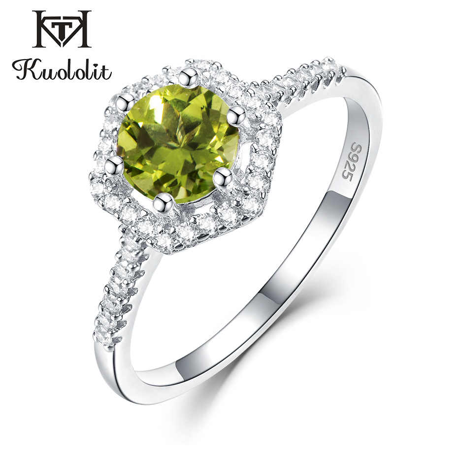 Kuololit Natural Peridot Gemstone Rings for Women 925 Sterling Silver Round Cut Stone Ring Wedding Engagement Gift Fine Jewelry