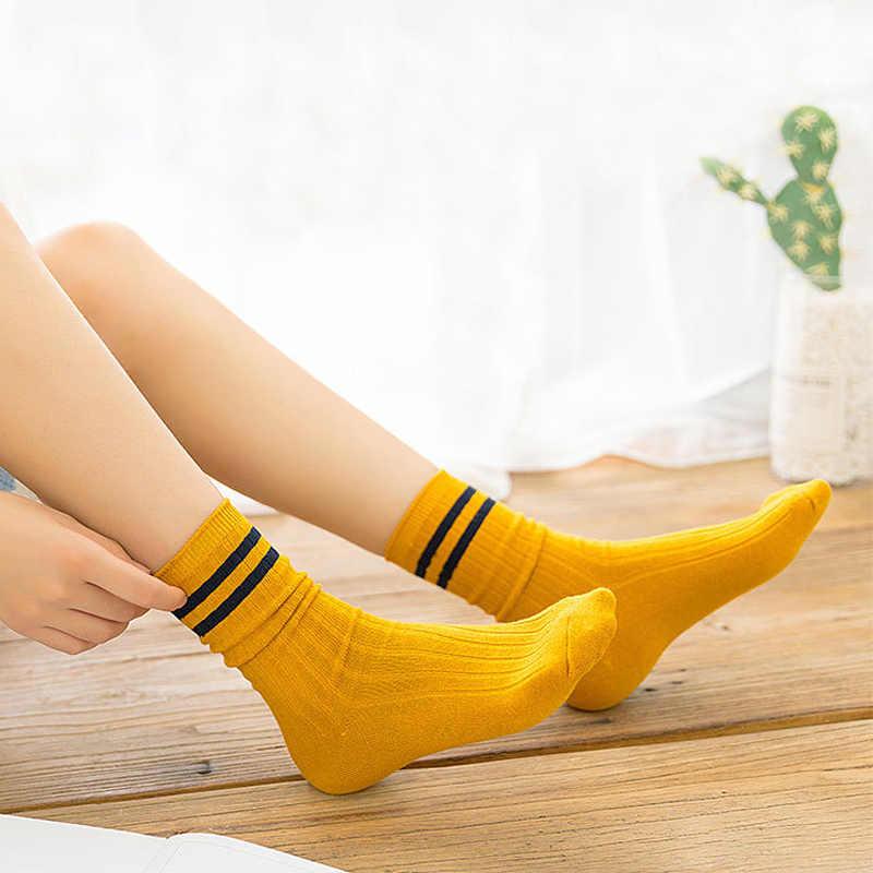 Baru Lucu Jepang Sekolah Tinggi Gadis Kapas Longgar Striped Kru Kaus Kaki Panjang Colorful Wanita Sox Harajuku Desain Retro Putih Kuning